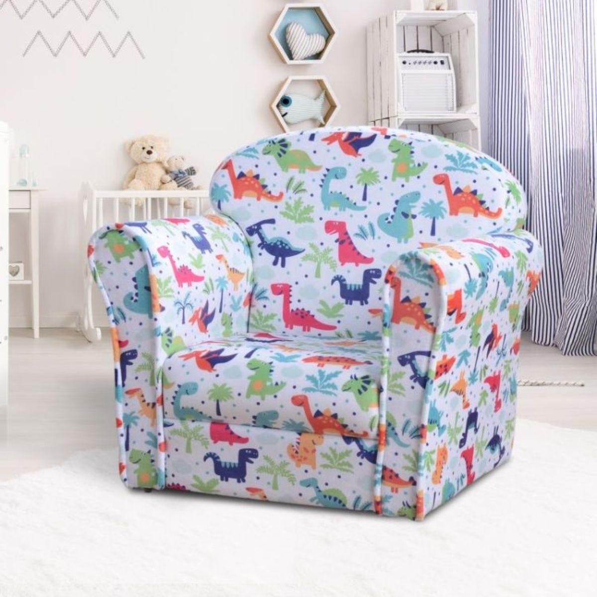 Childrens Dinosaur Print Soft Fabric Armchair Multi Colour