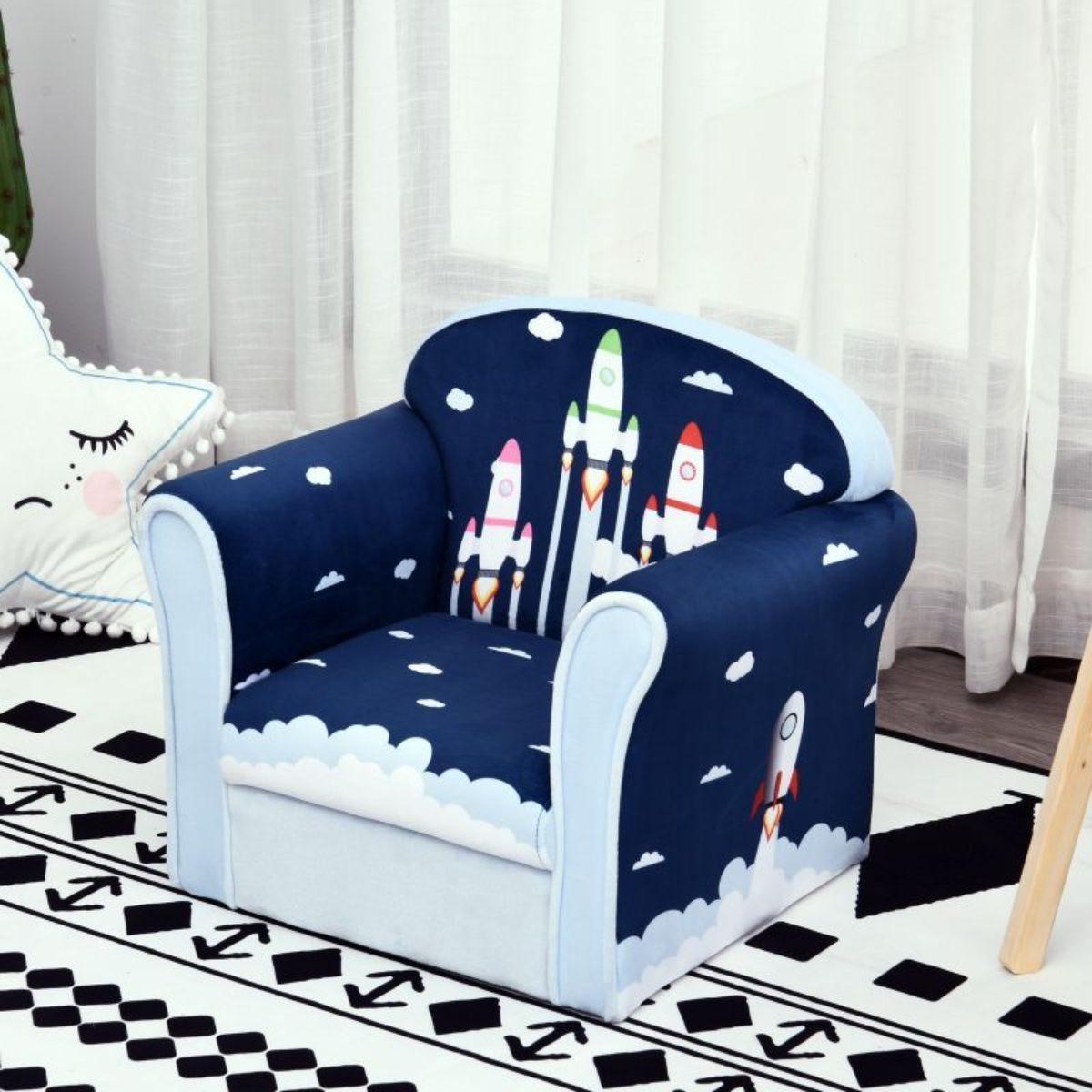 Childrens Rocket Print Soft Fabric Armchair Multi Blue