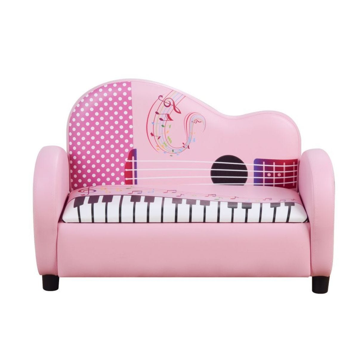 Kids Piano Shape 2 Seater Faux Leather Sofa With Storage Space Soft Pink