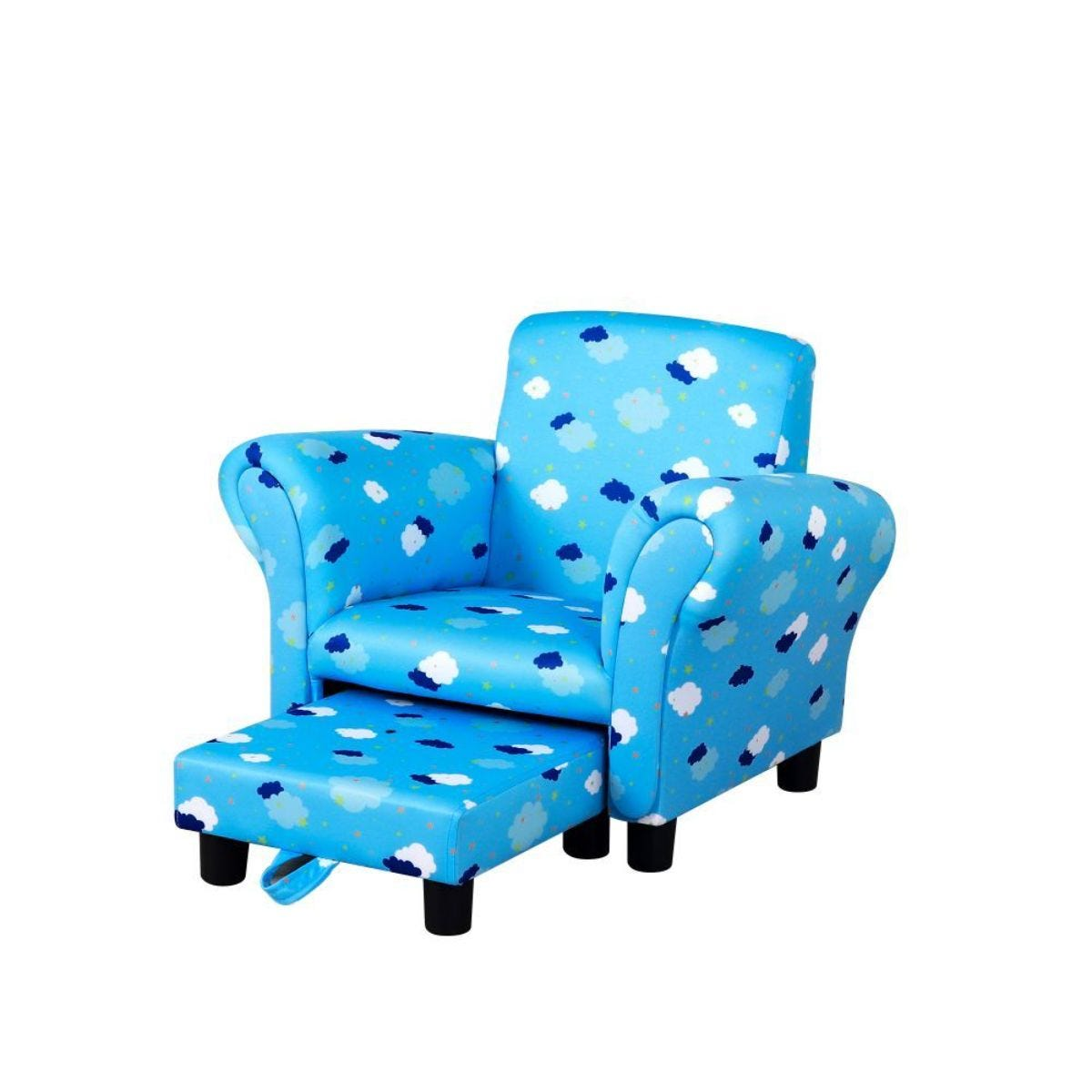 Cute Cloud Star Childs Armchair With Footrest Blue