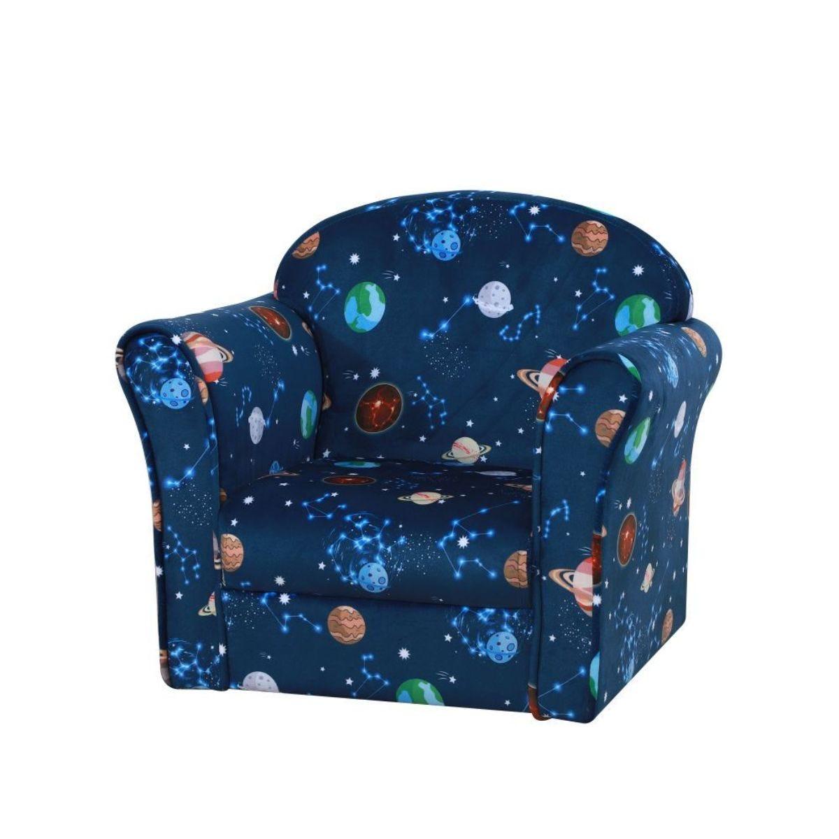 Childrens Space Print Soft Fabric Armchair Multi Blue