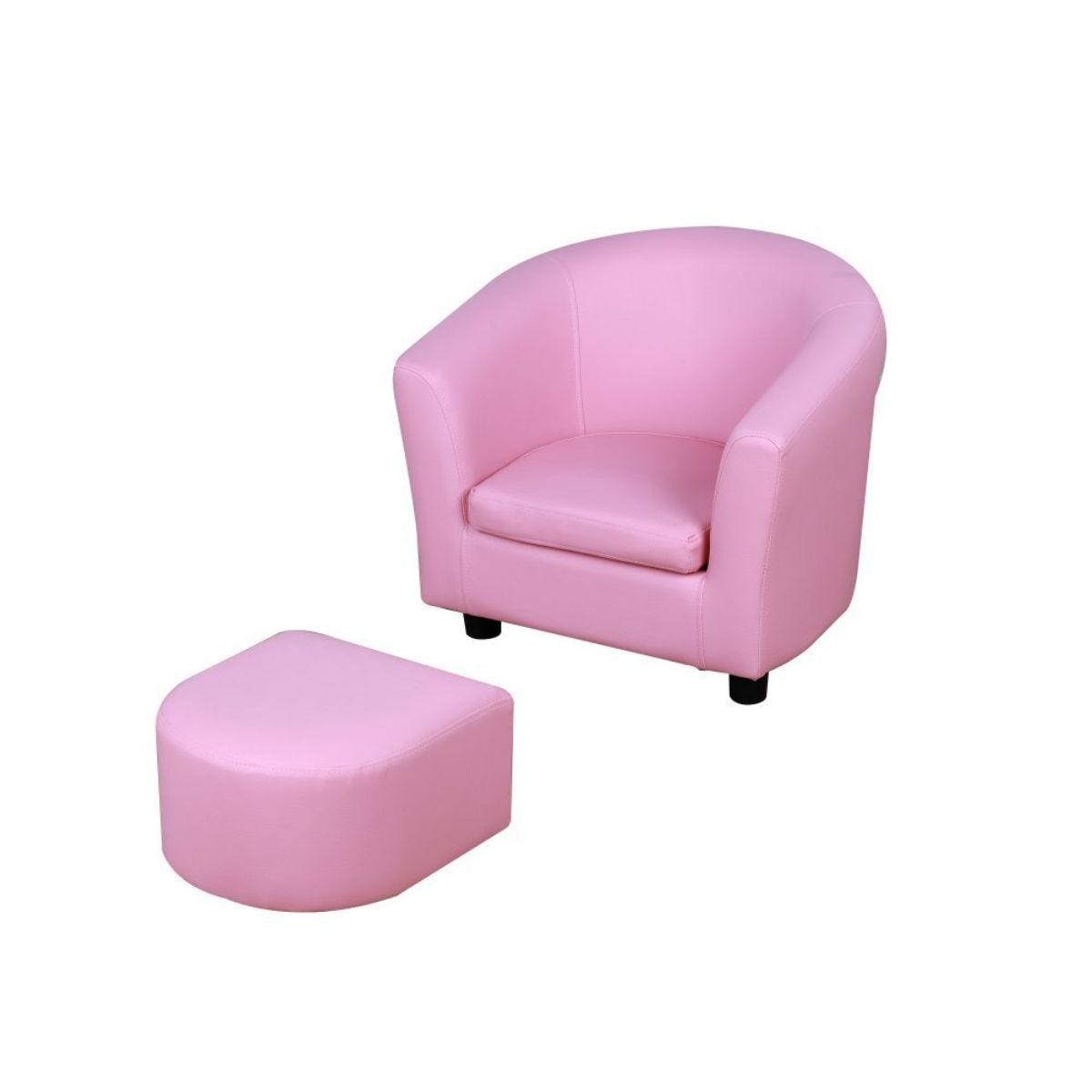 Kids Faux Leather Mini Sofa Pink