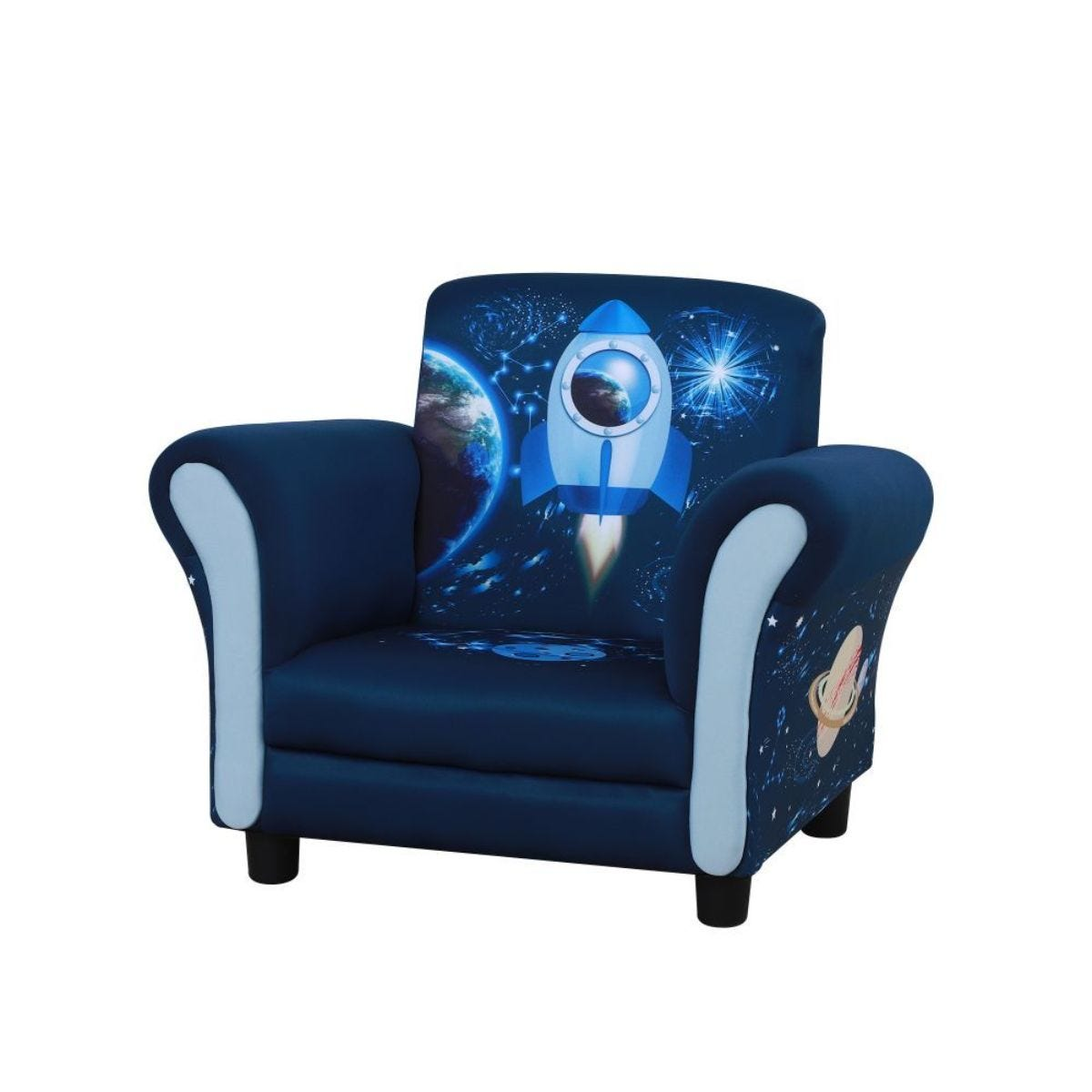 Childrens Rocket Print Soft Fabric Armchair With Wide Seat Multi Blue