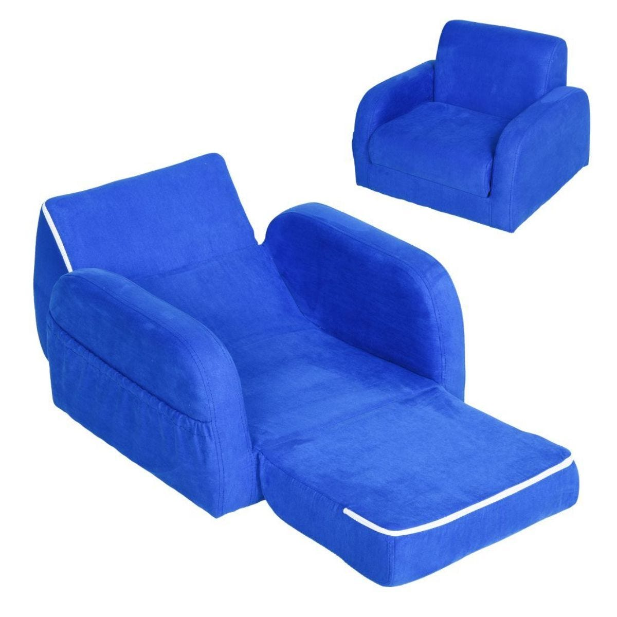 2 In 1 Kids Fold Out Sofa Bed Blue