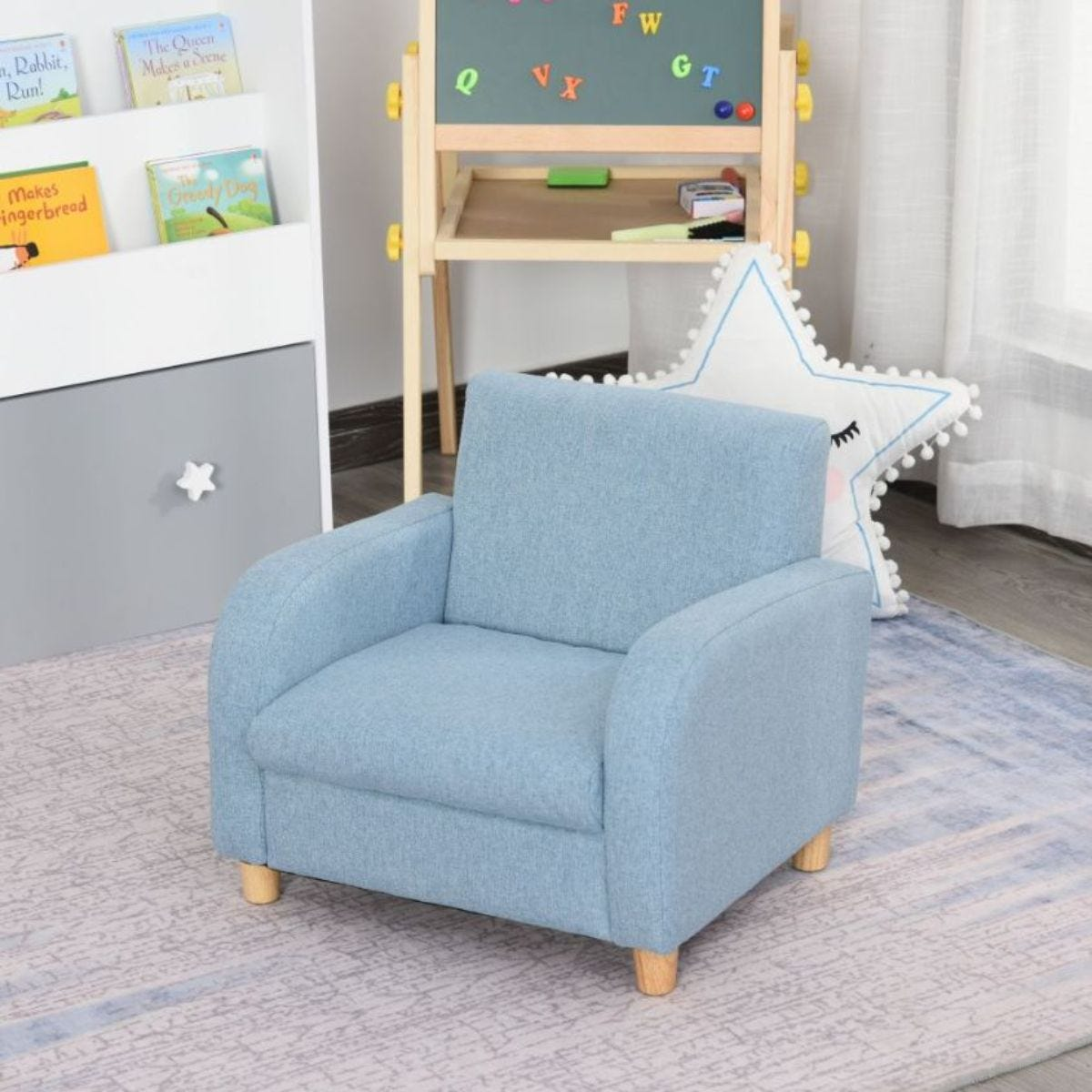 Childs Low Rise Linen Armchair With Wooden Frame Blue