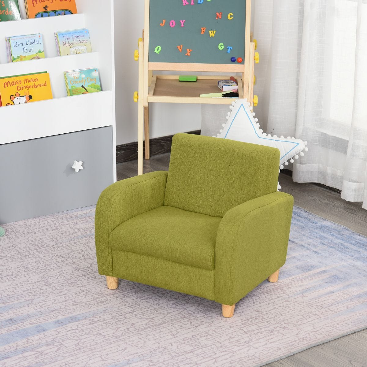 Childs Low Rise Linen Armchair With Wooden Frame Green