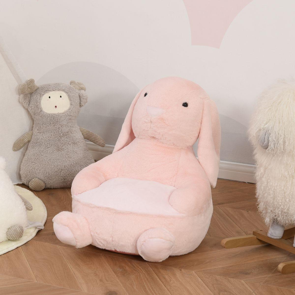 Kids Animal Rabbit Cartoon Soft Chair with Armrest 60x50x59cm Pink