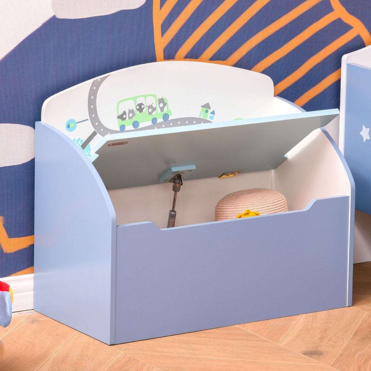 58 x 28cm Fun Kids Toy Storage Chest Box With Safety Hinge Blue