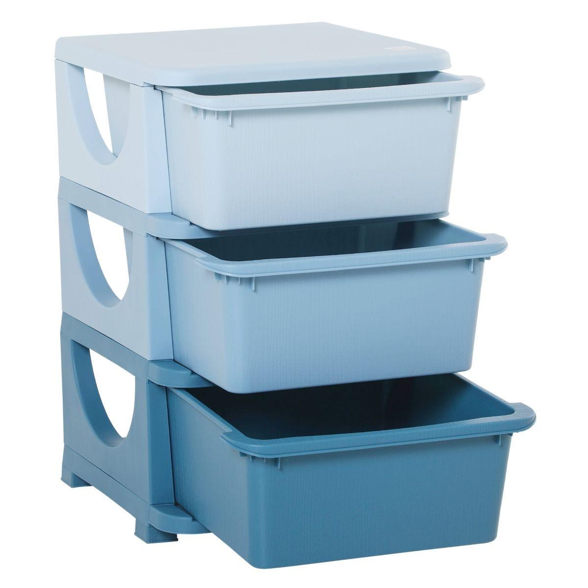Kids Storage Unit with Drawers 3 Tier Chest Vertical Dresser Tower Blue