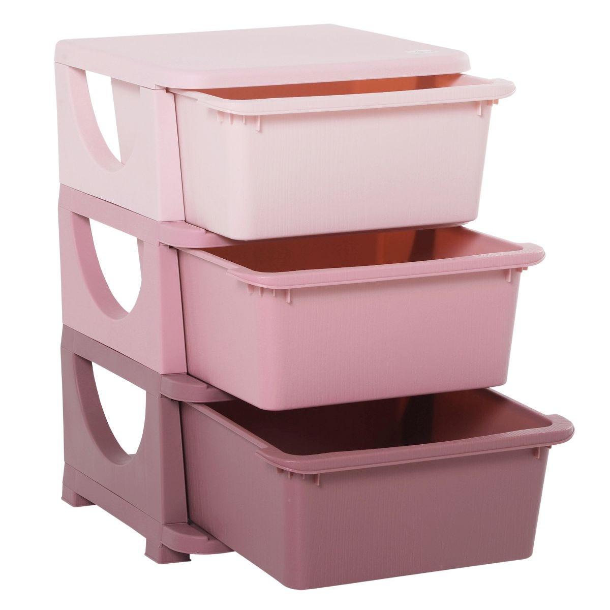 Kids Storage Unit with Drawers 3 Tier Chest Vertical Dresser Tower Pink