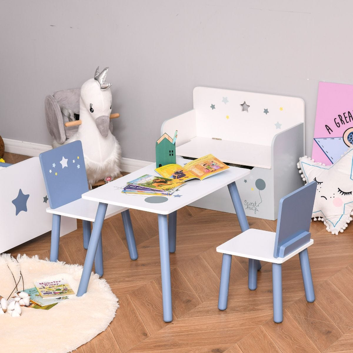 3 Pieces Kids Table And Chairs Dining Set Wood Legs Safe Corners Stars Blue And White