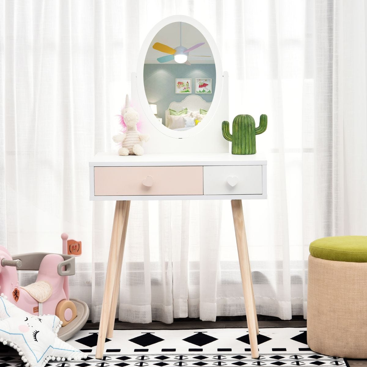 Kids Dressing Table With Mirror 2 Drawers Wood Legs Heart Handles Pink And White