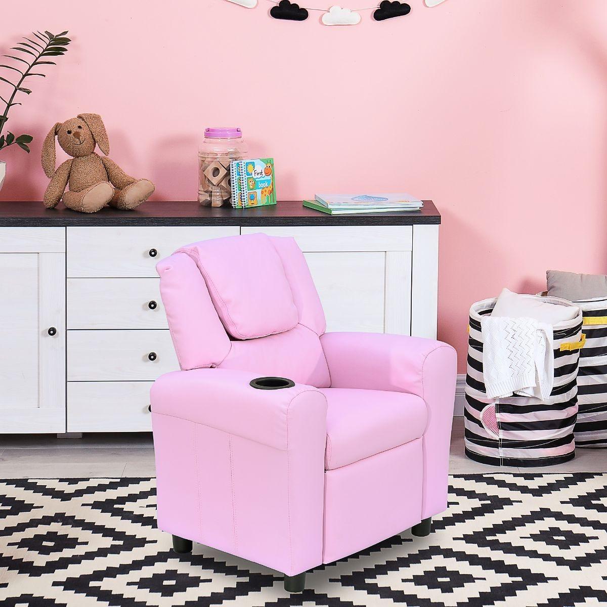 Kids Recliner Armchair Games Chair Sofa Pink