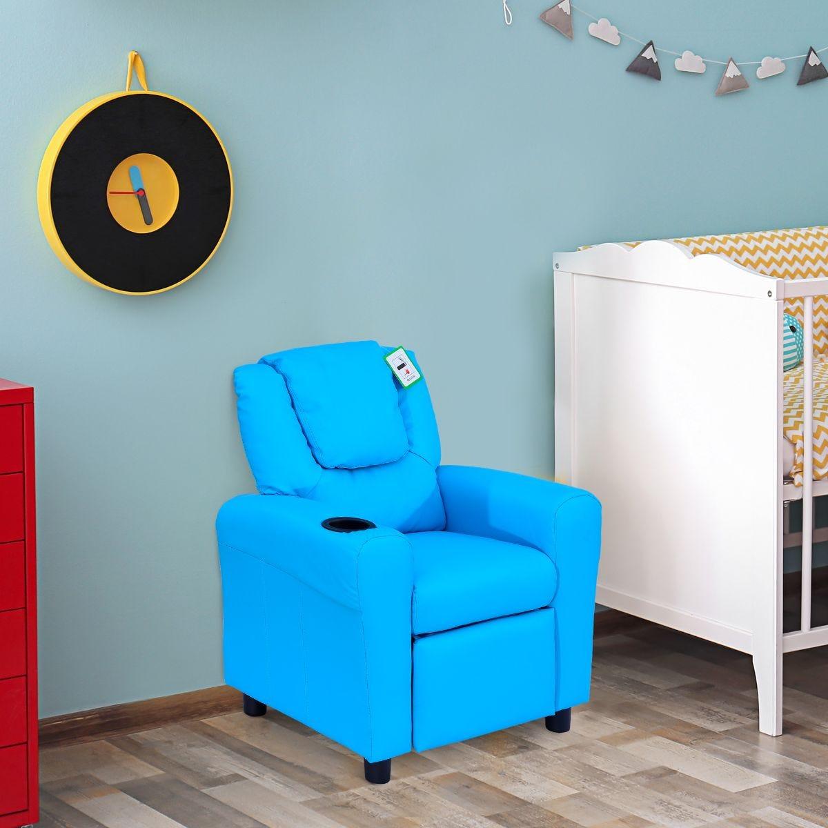 Kids Recliner Armchair Games Chair Sofa Blue