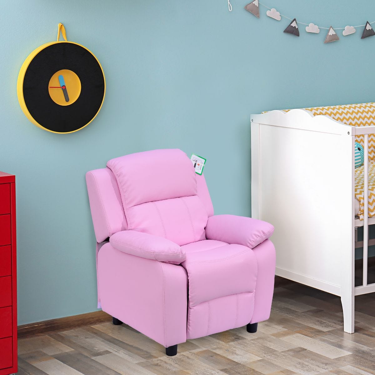 Kids Recliner Armchair Game Chair Sofa Faux Leather Pink