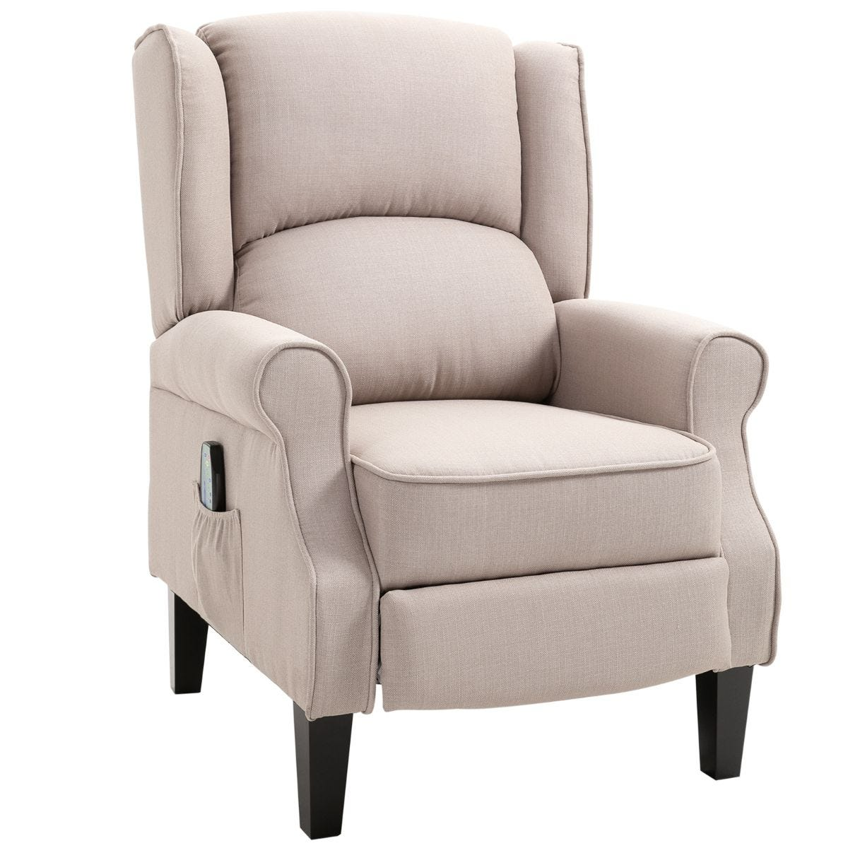 Heated Massage Reclining Armchair With Footrest And Remote Beige
