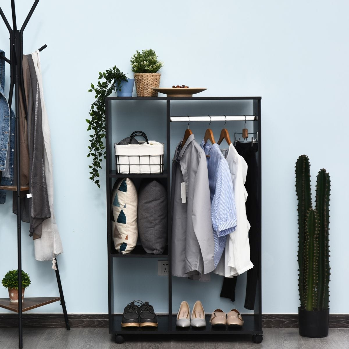 Rolling Open Wardrobe With Hanging Rail And Clothes Storage Black