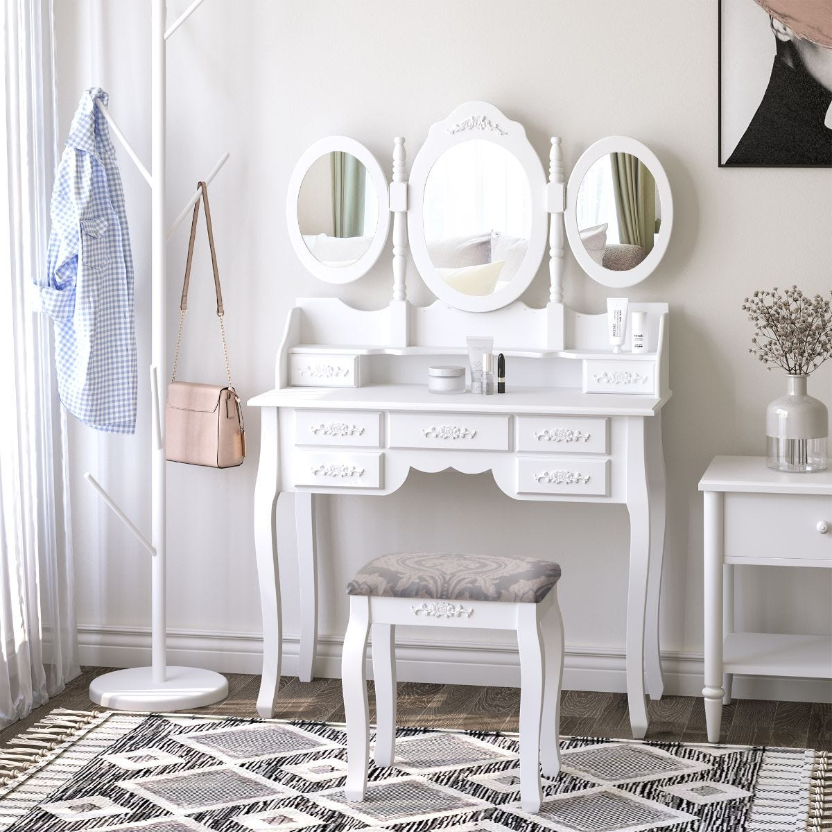 2 Piece Set Large Dressing Table And Stool Three Mirrors Drawers White