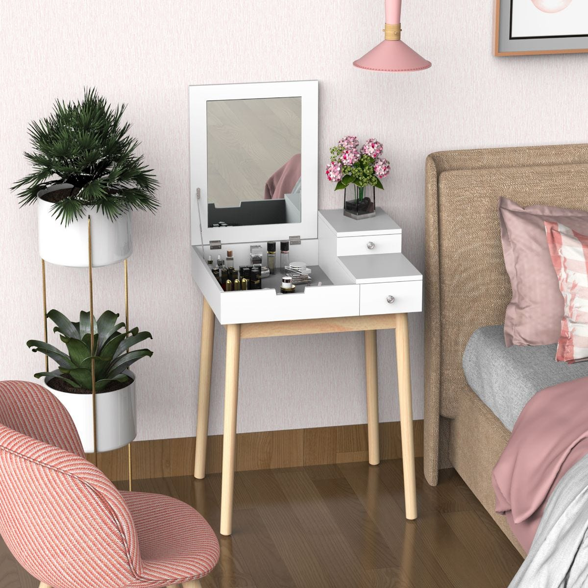 Compact Two In One Dressing Table Desk Flip Up Mirror 2 Drawers White