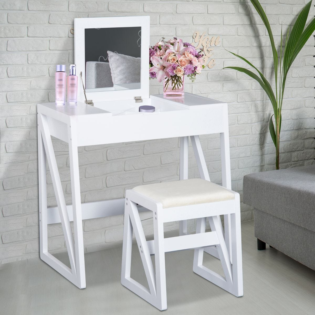 Compact Two In One Dressing Table Desk Flip Up Mirror 2 Drawers With Nesting Stool White