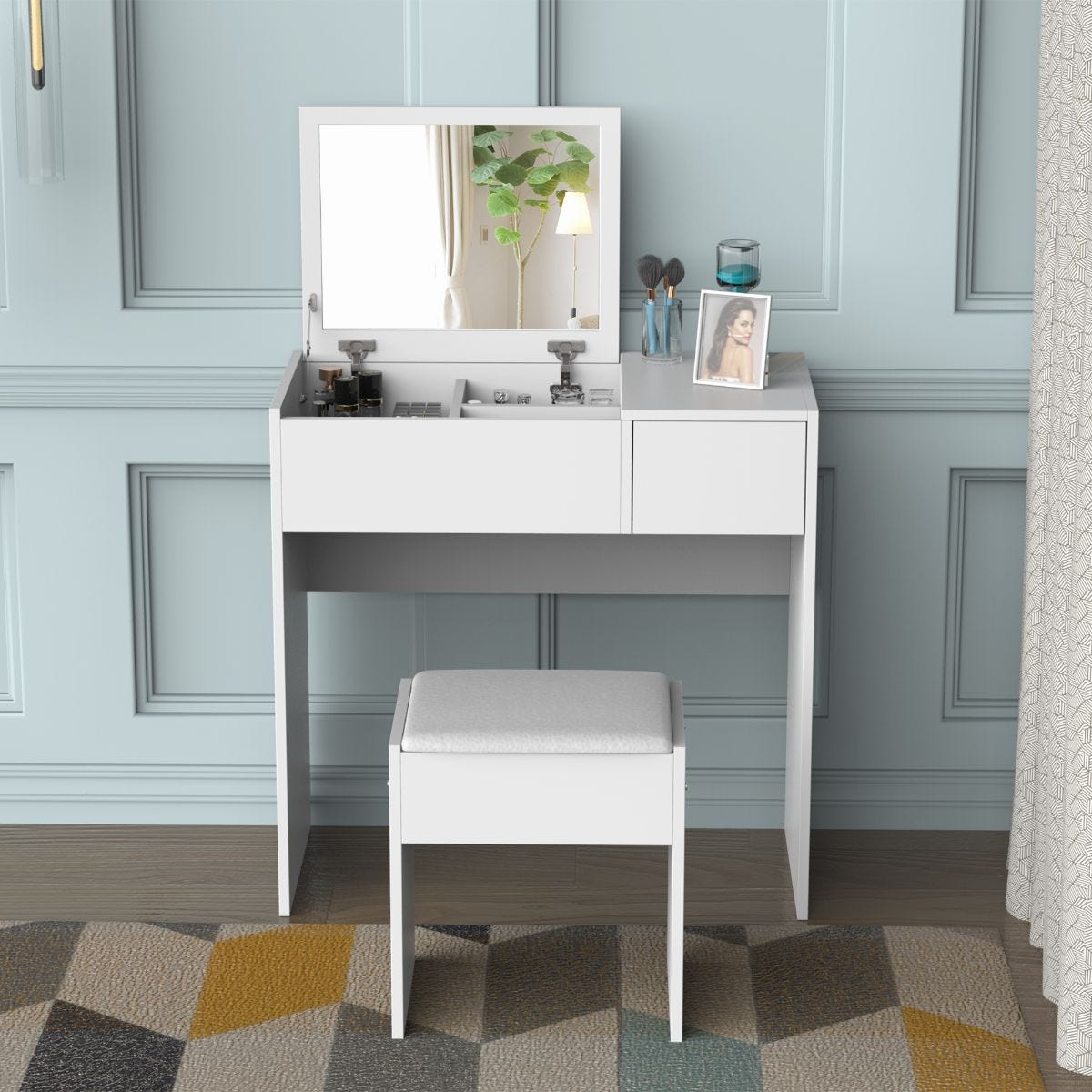 Two Piece Dressing Table Set With Padded Stool Flip Up Mirror And Sliding Drawer White