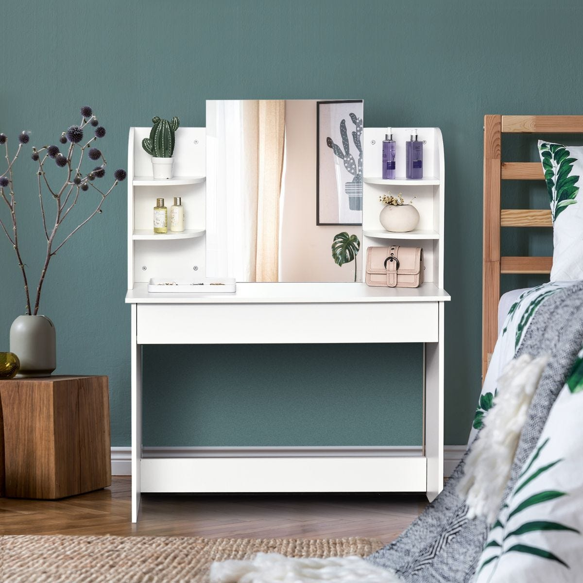 Modern Dressing Table With Large Mirror Drawer 2 Tier Shelf White