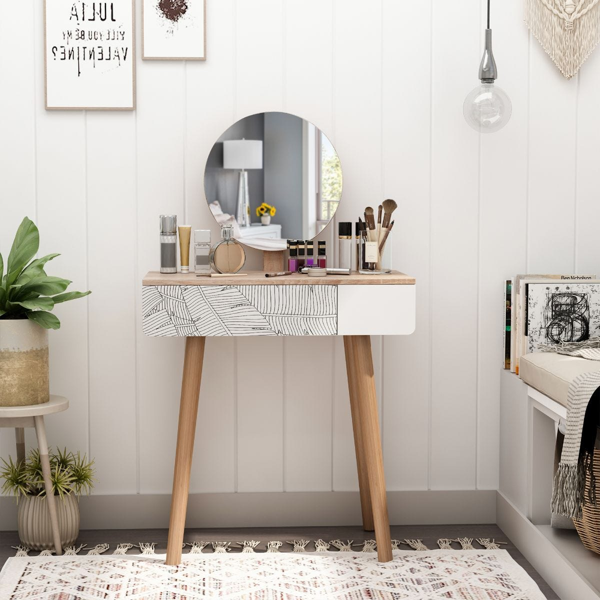 Wooden Compact Dressing Table With Leaf Print Drawer And Mirror White And Natural