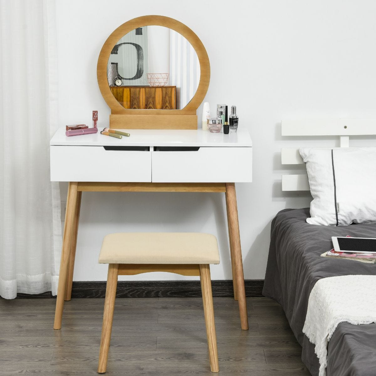 Two Piece Dressing Table And Stool Set With Drawers And Mirror White And Natural Wood