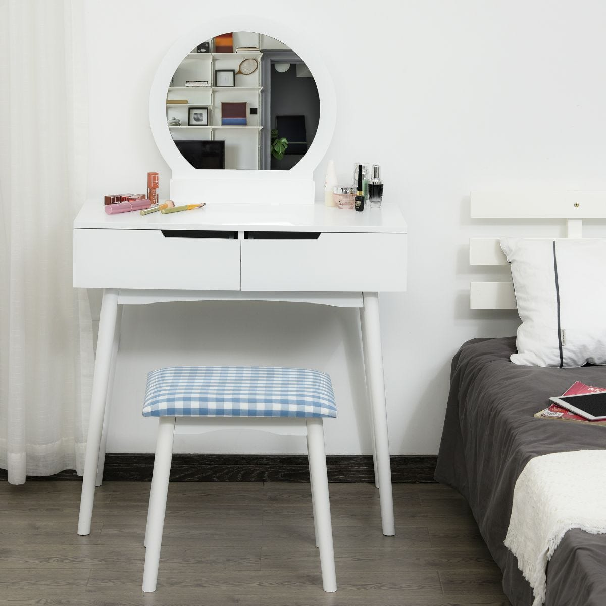 Two Piece Dressing Table And Stool Set With Drawers And Mirror White