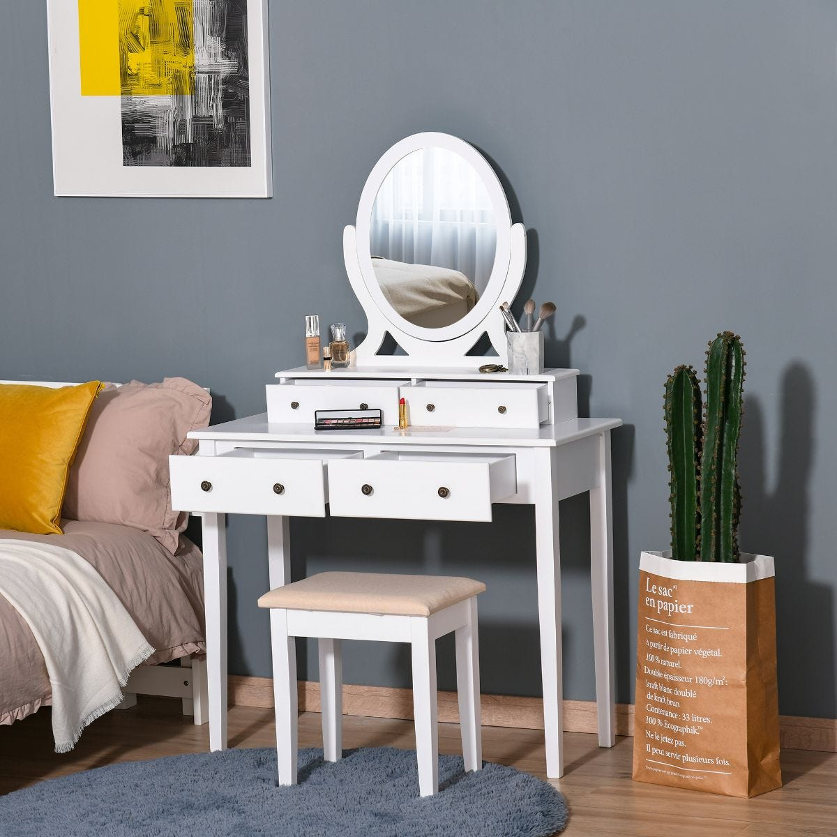 Four Drawer Dressing Table And Stool Set Mirror Cushioned Seat Wood Legs White