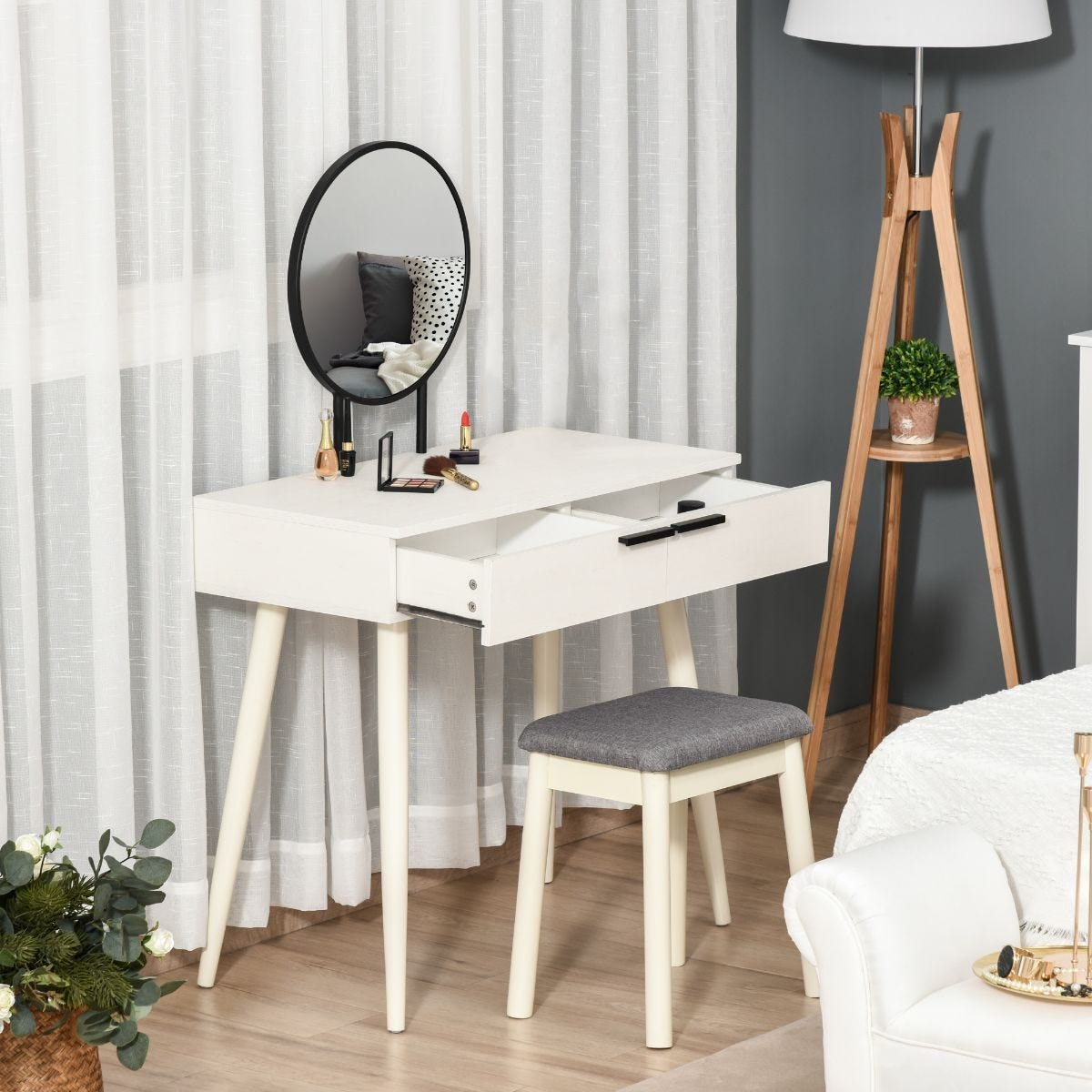 Contemporary Two Piece Dressing Table Set With Stool And Round Mirror White