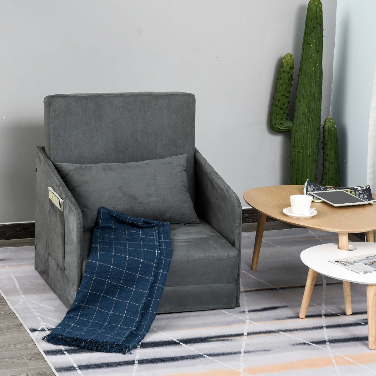 Single Armchair Sleeper Bed With Pillow Grey