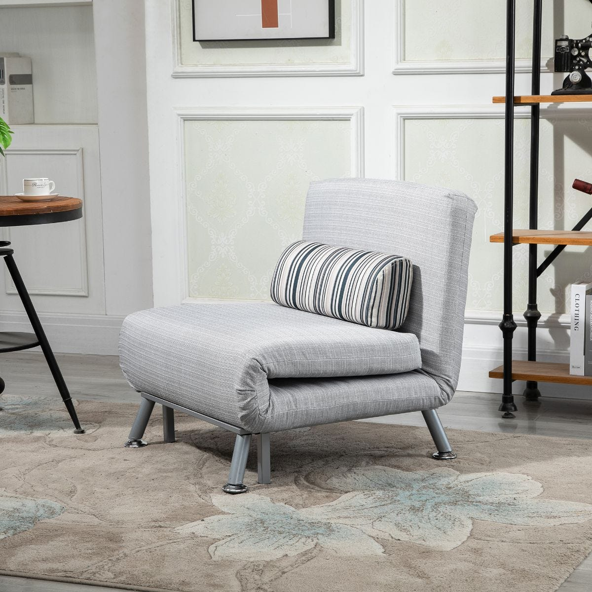 Single Folding 5 Position Steel Convertible Futon Sleeper Chair Sofa Bed Grey