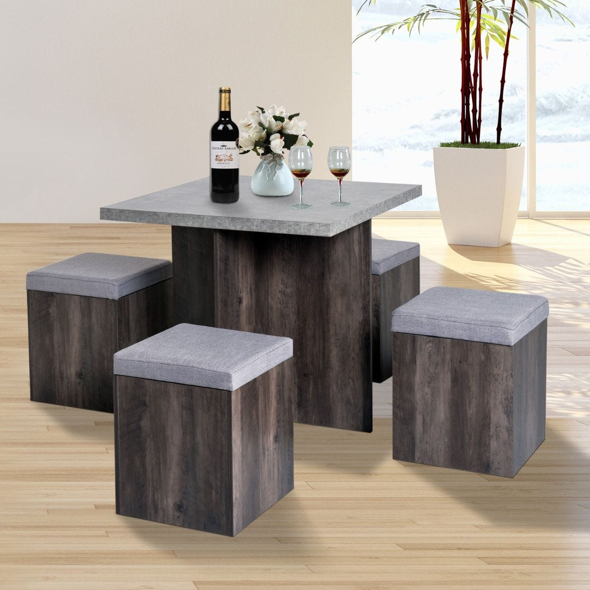 Space Saving 5 Piece Dining Table With 4 Ottoman Storage Seats Wood Effect