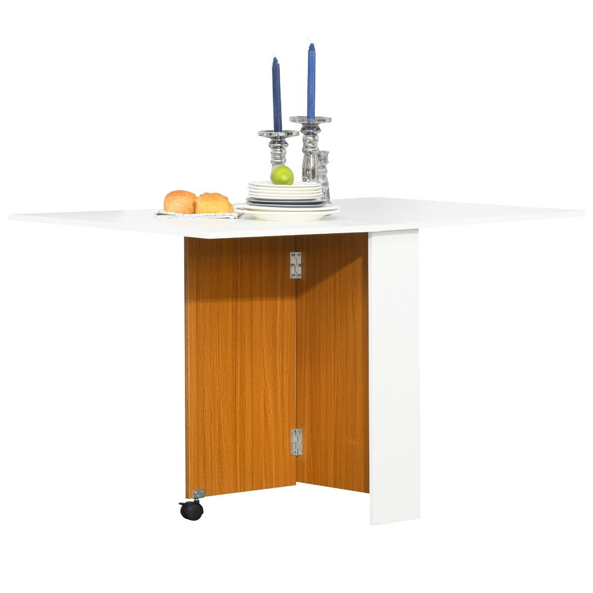 Folding 4 To 6 Seater Dining Table Mobile Desk With Castors Teak Colour White