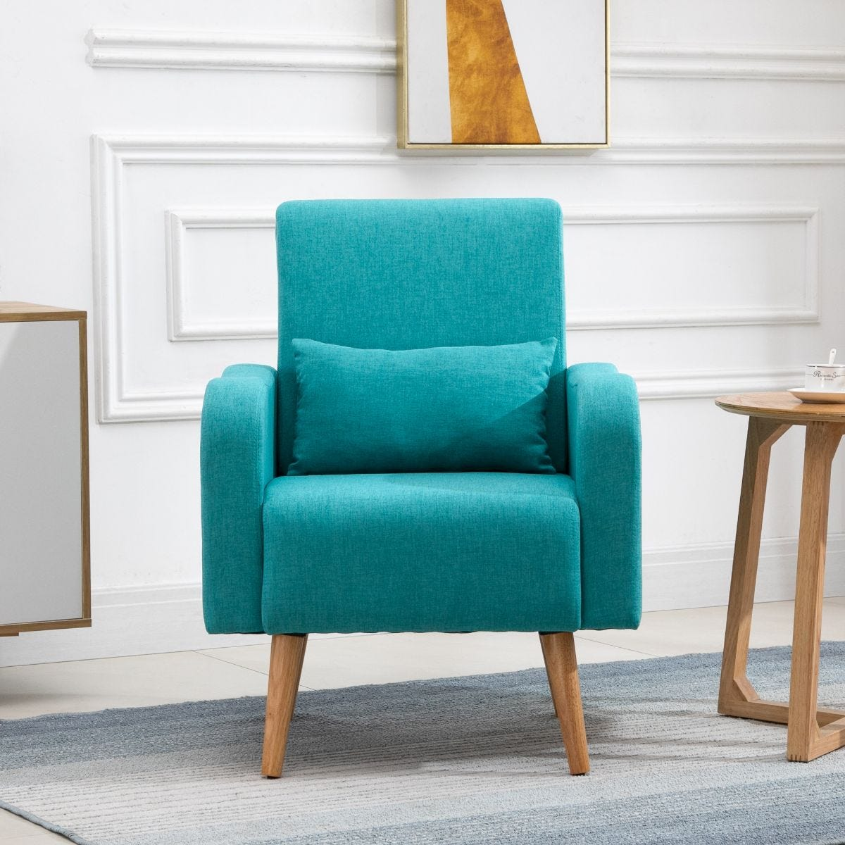 Minimalist Armchair Solid Wood Frame And Legs Faux Linen Teal