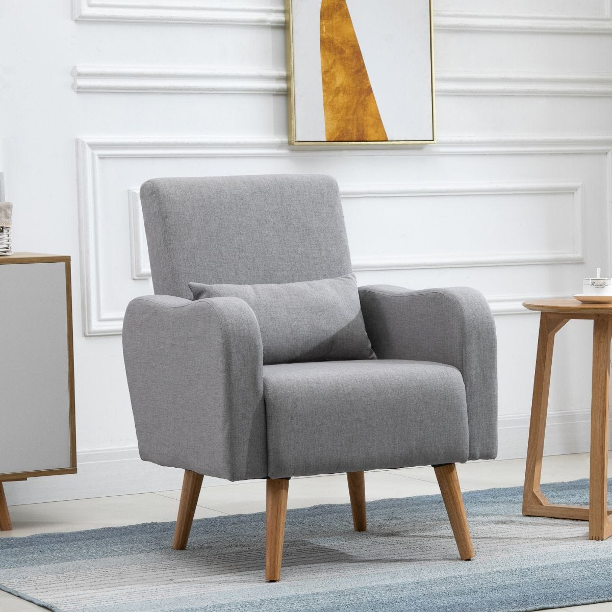 Minimalist Armchair Solid Wood Frame And Legs Faux Linen Grey