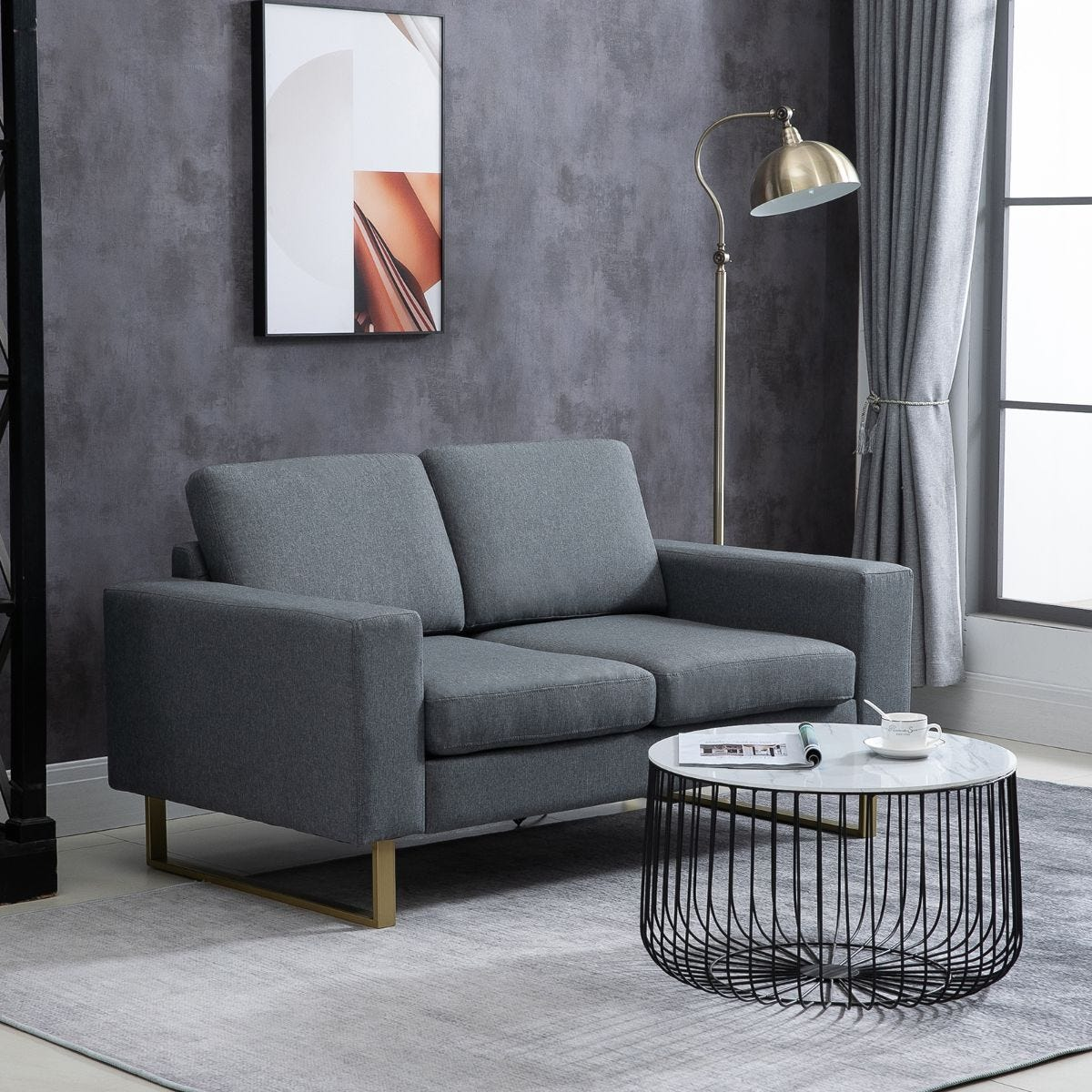 Compact Two Seater Sofa Grey Faux Linen Gold Legs