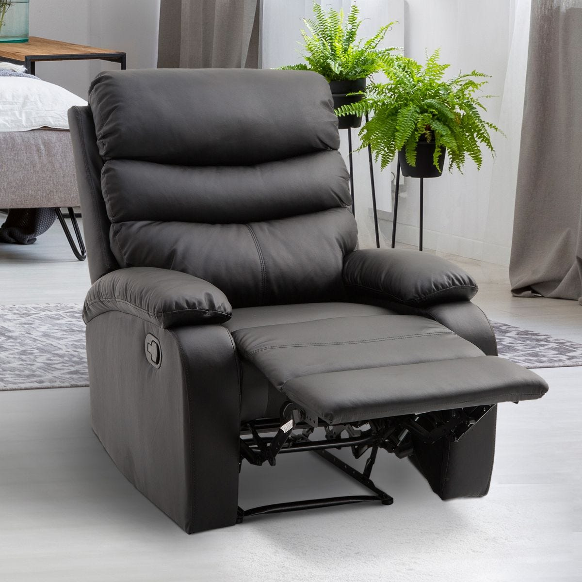 PU Faux Leather Manual Recliner Armchair Padded Armrest Footrest Black