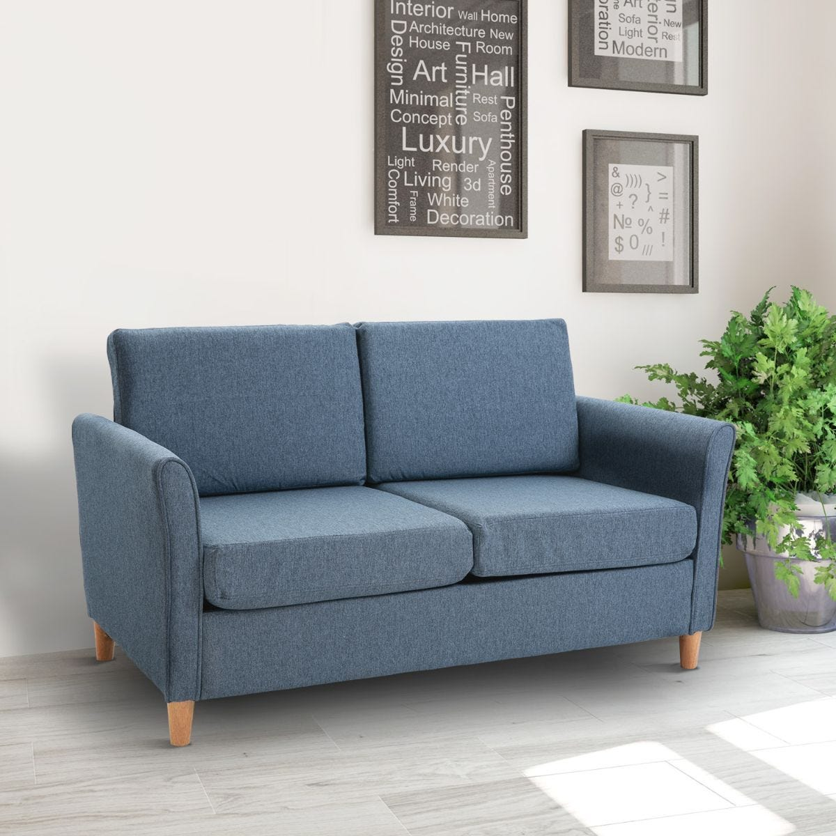 Compact Two Seater Sofa With Armrests Linen Style Upholstery Blue