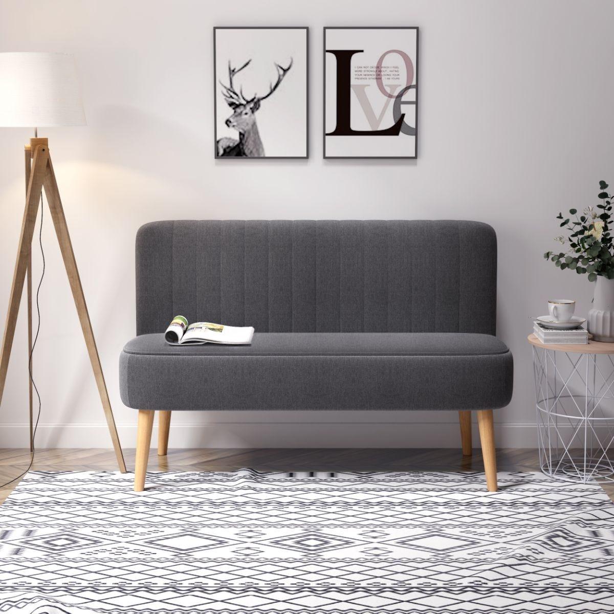 Modern Compact Two Seater Sofa Faux Linen Wood Legs Dark Grey