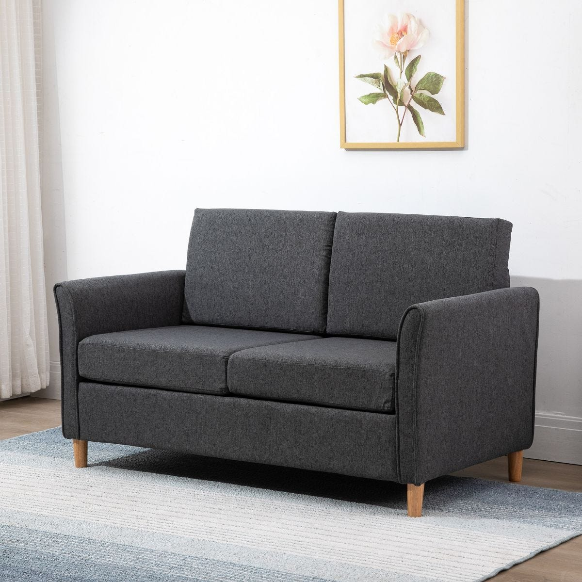 Compact Two Seater Sofa With Armrests Linen Style Upholstery Dark Grey