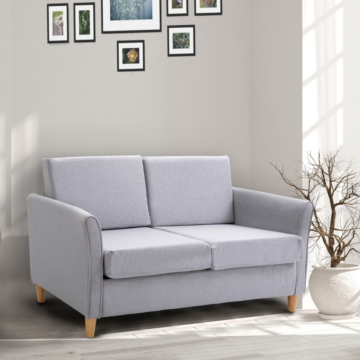 Compact Two Seater Sofa With Armrests Linen Style Upholstery Grey