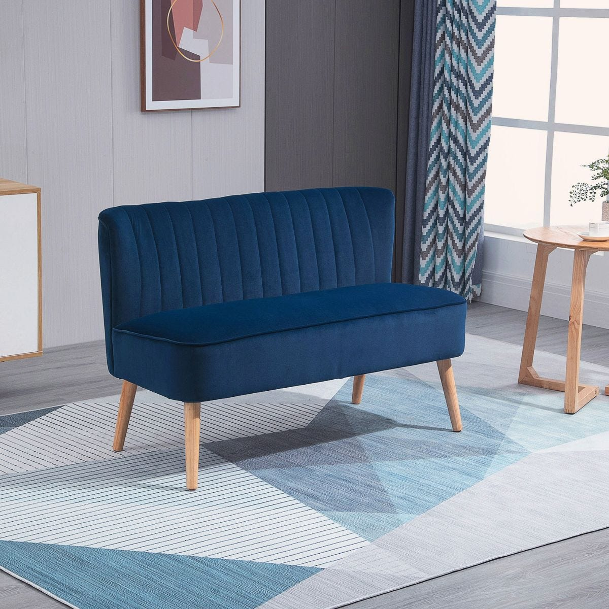 Two Seater Sofa With Wooden Frame Foam Padding High Back Stylish Blue