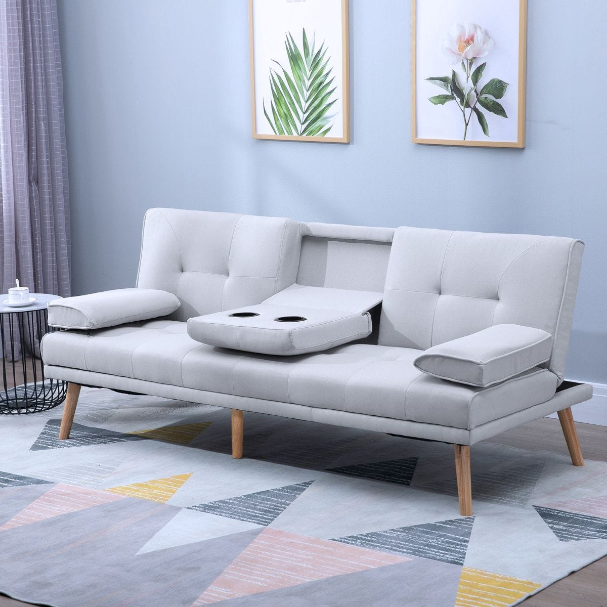 3 Seater Sofa Bed Scandi Style Recliner With Adjustable Back And Middle Drinks Table Grey