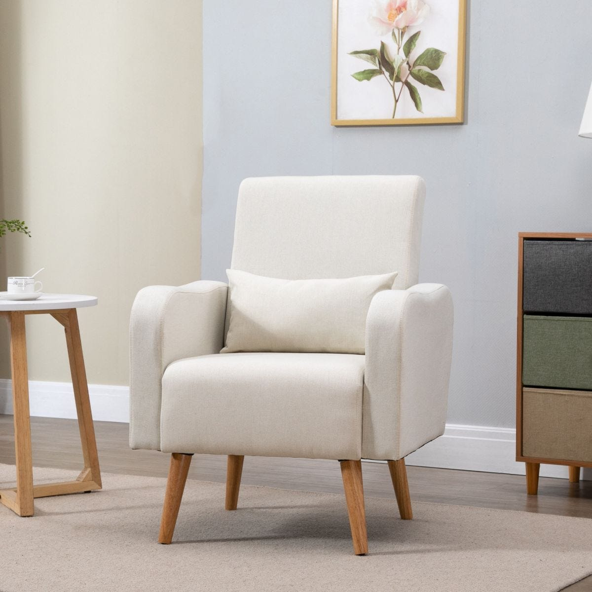 Minimalist Armchair Solid Wood Frame And Legs Faux Linen Cream