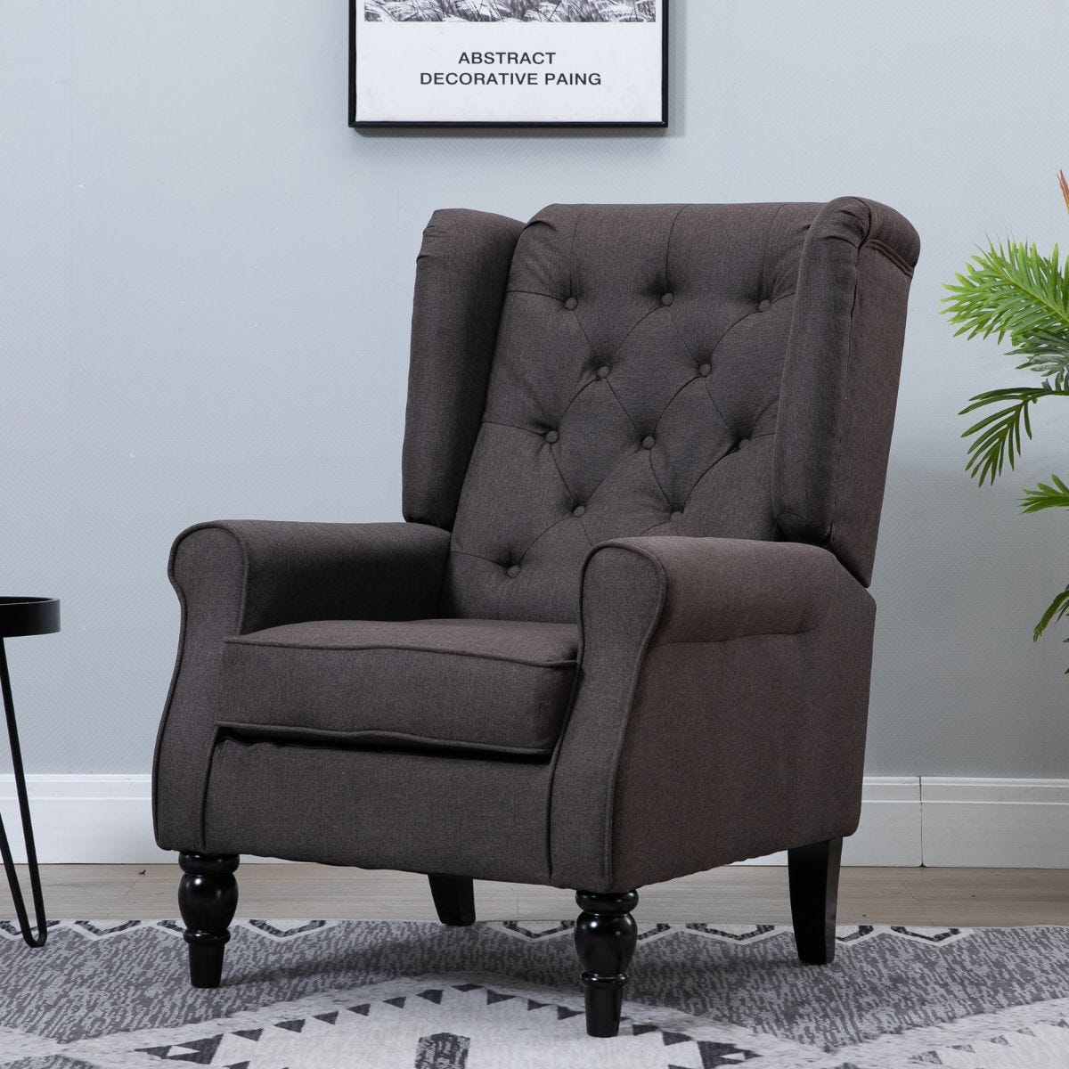 Accent Armchair Retro Vintage Tufted Fabric Brown