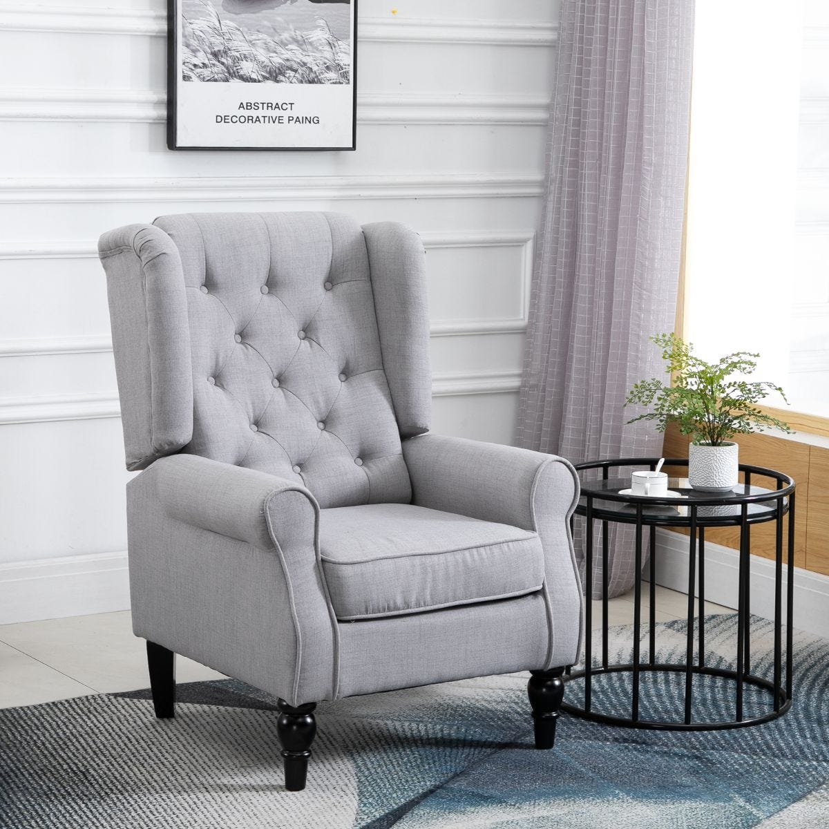 Accent Armchair Retro Vintage Tufted Fabric Grey
