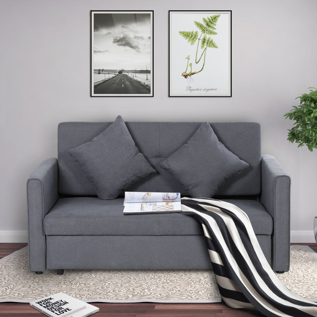 Two Seater Storage Sofa Bed Wood Frame Padding Compact Grey