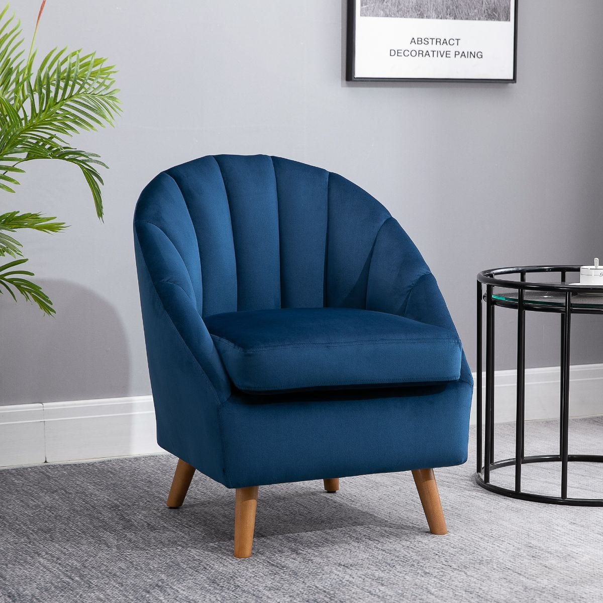 Shell Back Armchair Vintage Velvet Style Fabric Solid Wood Legs Blue